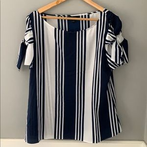 Striped white and navy blouse